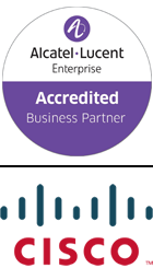 Alcatel lucent accredited business partner logo, CISCO logo