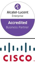 Alcatel lucent accredited business partner logo, CISCO logo